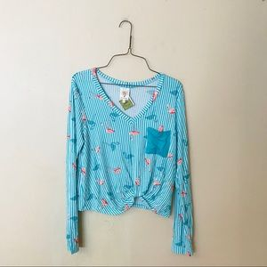 NWT Turquoise and Pink Flamingo Knit Top